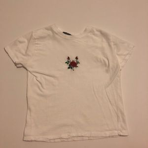 Brandy Melville rose embroidered top